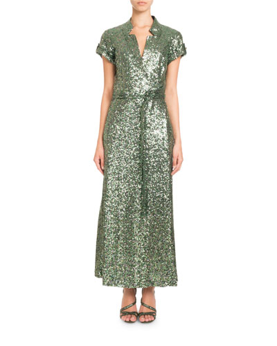 Short-Sleeve Notched-Collar Sequin Wrap Evening Gown