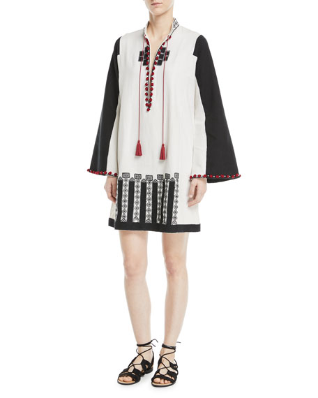 TALITHA Moroccan-Embroidered Tie-Neck Wide-Sleeve Tunic in White Multi