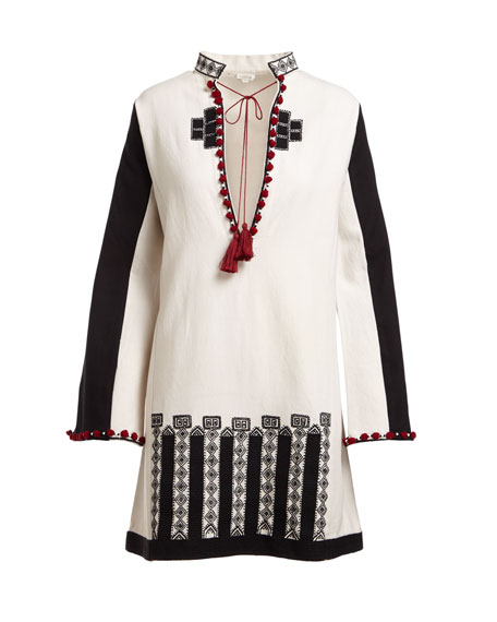 Moroccan-Embroidered Tie-Neck Wide-Sleeve Tunic
