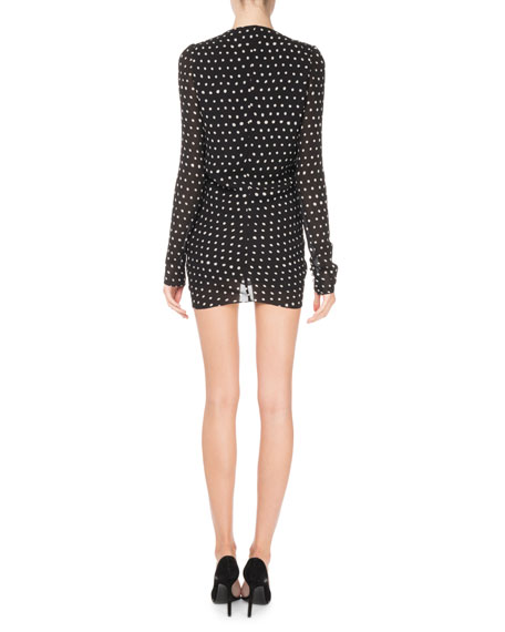 V-Neck Ruffle-Front Dot-Print Ruched Dress