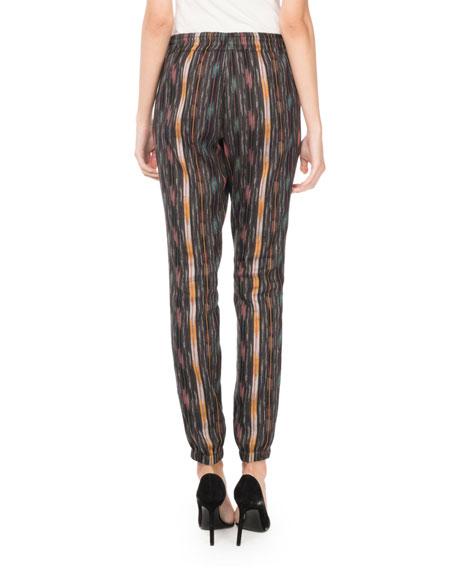 Drawstring Ikat-Print Straight-Leg Pants