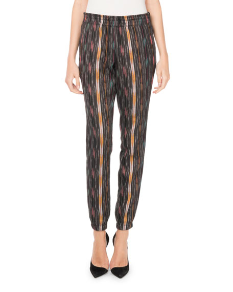 Drawstring Ikat-Print Straight-Leg Pants