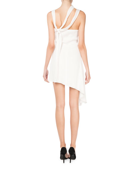 Asymmetric Sleeveless Short Silk Dress