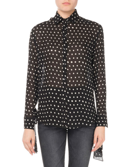 Cuff-Tie Polka Dot-Print Silk Blouse, Black/White