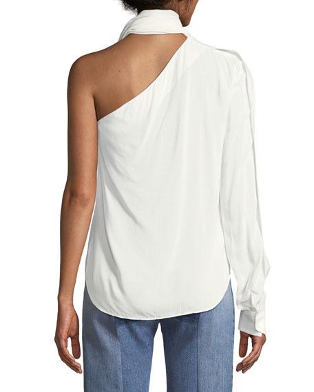 One-Sleeve Tie-Neck Dot-Print Silk Blouse
