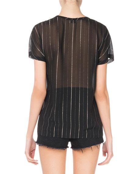 Round-Neck Metallic-Striped Sheer T-Shirt