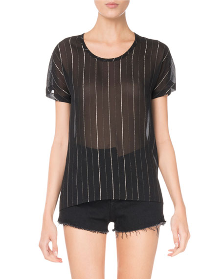Round-Neck Metallic-Striped Sheer T-Shirt