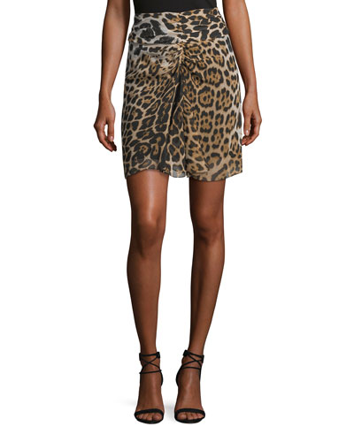 Leopard-Print Shirred Mini Skirt