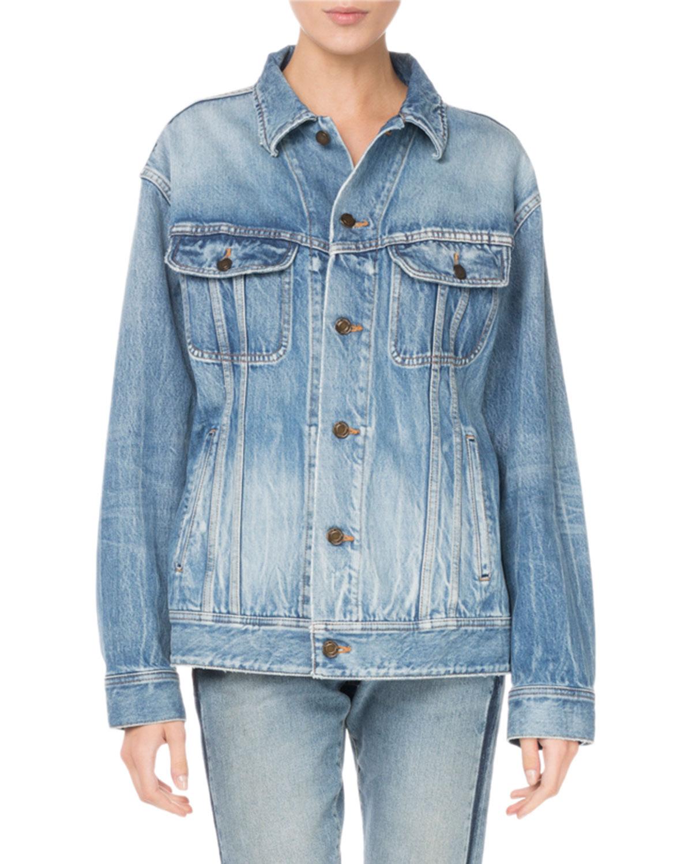 Saint Laurent Button Front Long Sleeve Oversized Denim Jacket