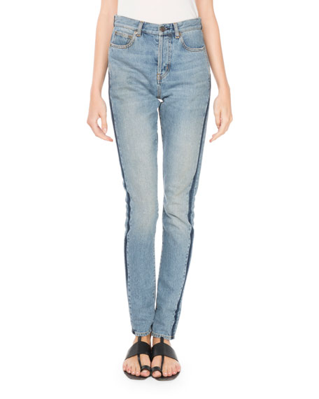 High-Waist Side-Stripe Skinny-Leg Jeans