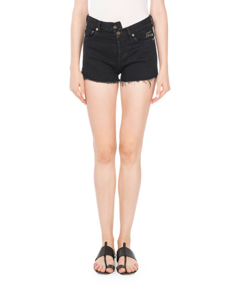 Origami-Waist 5-Pocket Denim Shorts