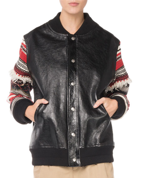 Snap-Front Oversized Leather Jacket with Embroidered Stripe Sleeves