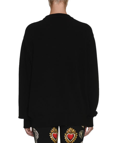 Long-Sleeve Oversized Wool-Blend Sweater w/ Heart Print
