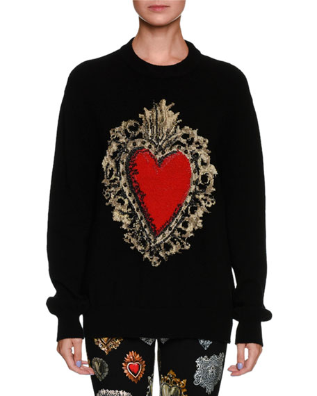 Dolce & Gabbana Long-Sleeve Oversized Wool-Blend Sweater w/