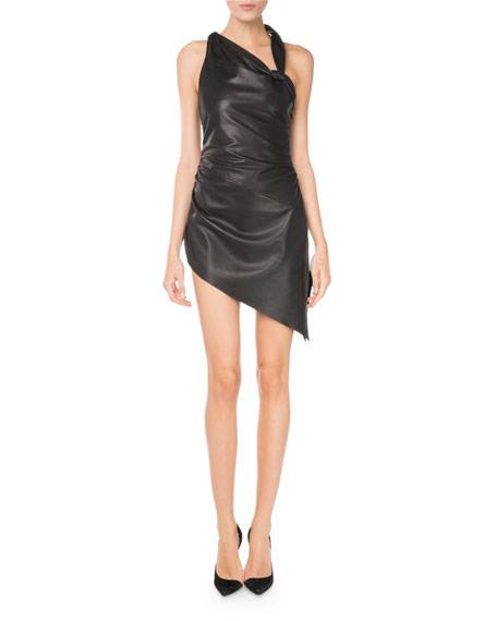 Lamb Leather Asymmetric Sleeves Fitted Short Dress