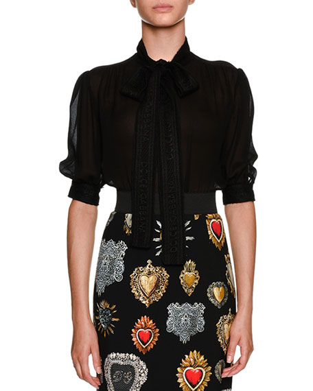 Tie-Neck Short-Sleeve Sheer Silk Blouse