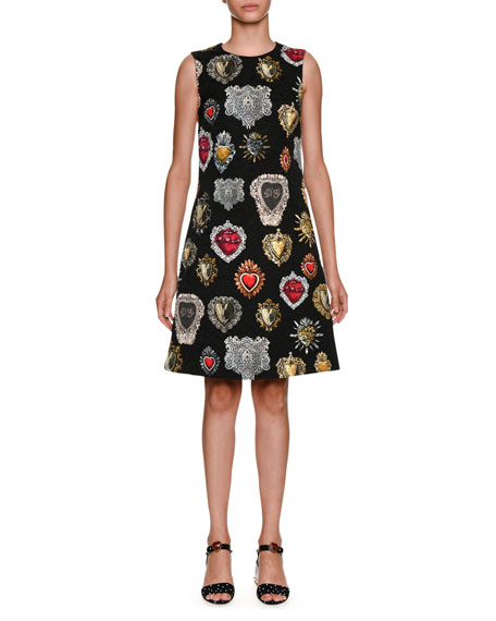 Sleeveless A-Line Heart Brocade Dress
