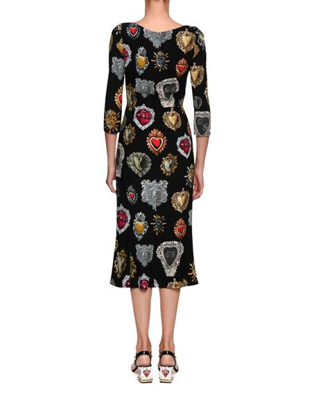 Round-Neck 3/4-Sleeve Heart-Print Cady Midi Dress
