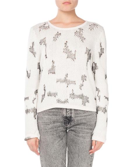 Saint Laurent Crewneck Intarsia-Knit Cropped Cashmere Sweater