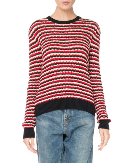 Crewneck Long-Sleeve Stripe Crochet Cotton Sweater