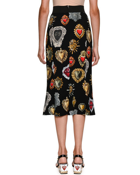 Sacred Heart Printed Cady Straight Midi Skirt
