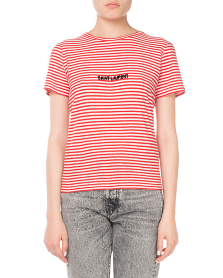 Striped Cotton Knit Tee with Logo