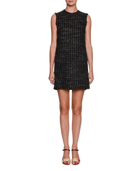Sleeveless Crewneck Tweed Mini Dress