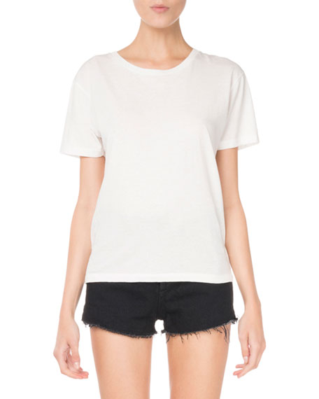 Crewneck Short-Sleeve Heart-Cutout Classic T-Shirt
