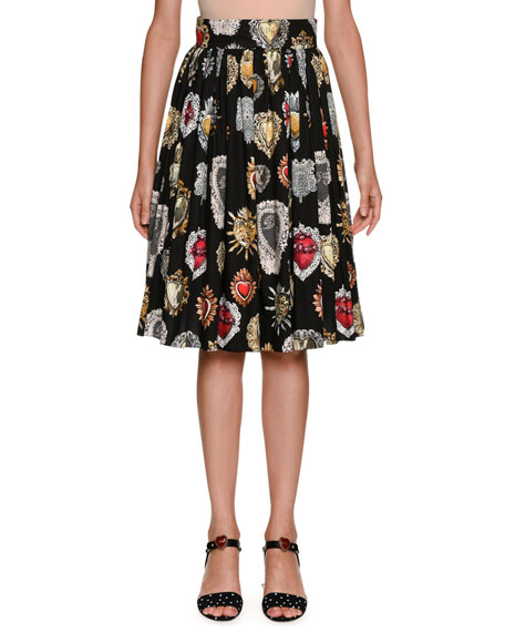 Sacred Heart Pleated A-Line Printed Poplin Skirt
