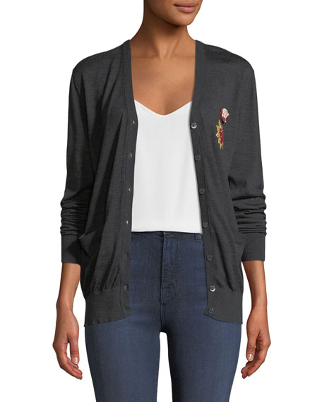 Long-Sleeve Button-Down Wool Cardigan w/ Heart Patch