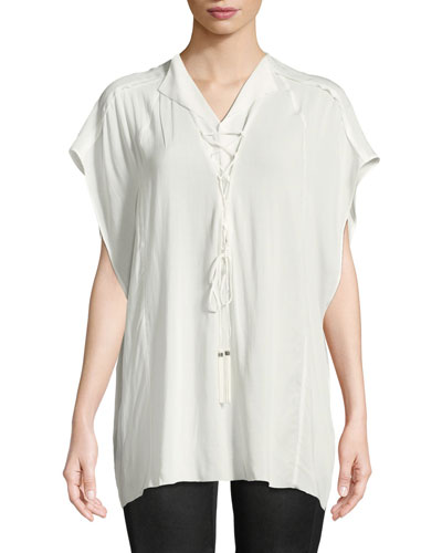 Short-Sleeve Lace-Up Silk Blouse
