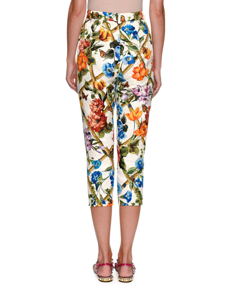 Cropped Floral Bamboo-Print Cotton-Silk Pants