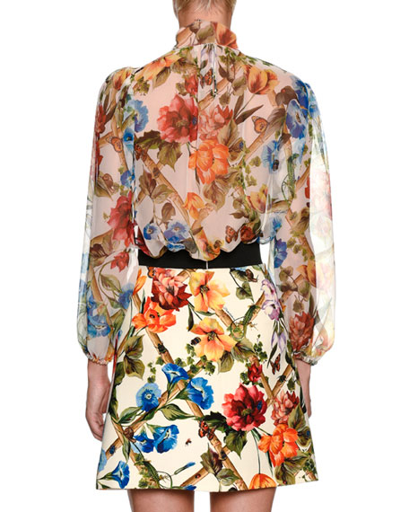Climbing Flowers Bow-Neck Long-Sleeve Silk Chiffon Blouse