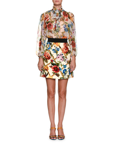 Dolce & Gabbana Climbing Flowers Bow-Neck Long-Sleeve Silk