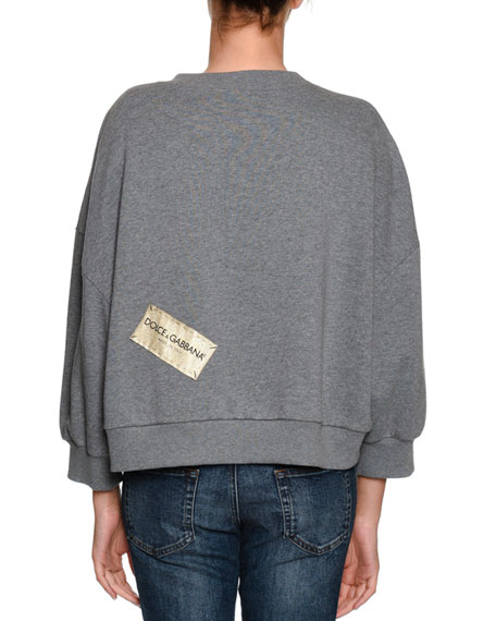 D&G Love Sequin Crewneck Cotton Sweatshirt