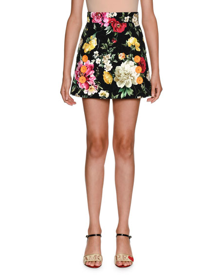 Floral-Print Brocade Mini Skirt