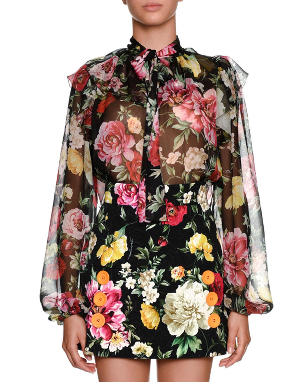 fe07f336 Dolce & Gabbana Bow-Tie Long-Sleeve Floral-Print Silk Chiffon Blouse ...