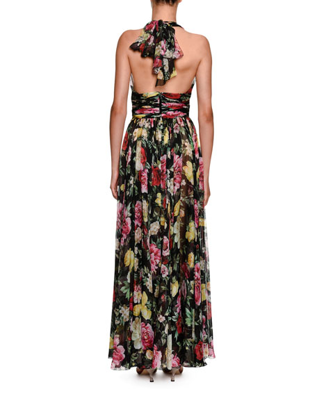 Halter-Neck Floral-Print Chiffon Evening Gown w/ Heart Patch
