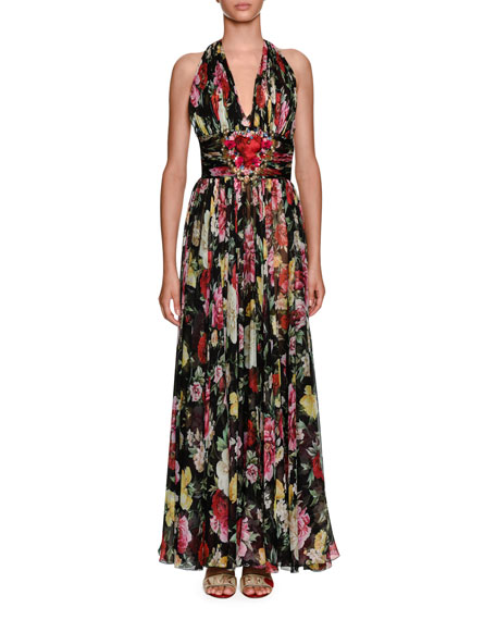 Dolce & Gabbana Halter-Neck Floral-Print Chiffon Evening Gown