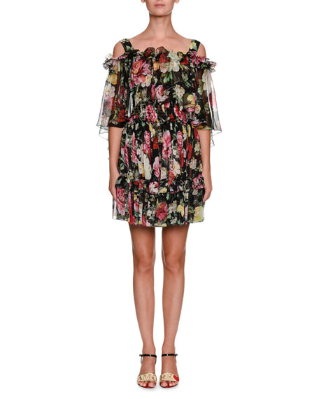 Capelet Cold-Shoulder Floral-Print Silk Chiffon Mini Dress
