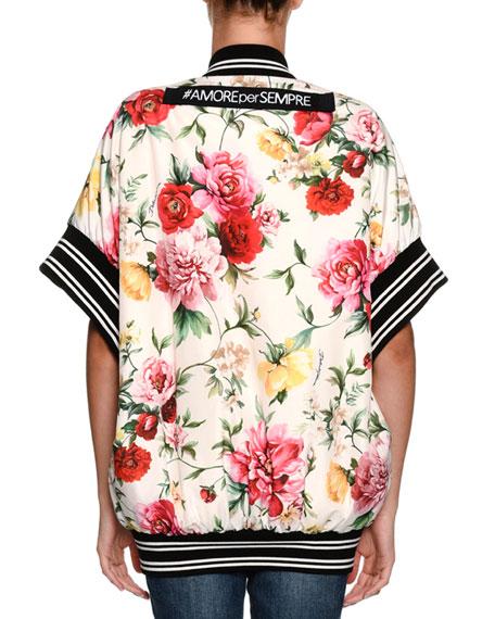 Short-Sleeve Floral-Print Wrap Snap-Front Bomber Jacket