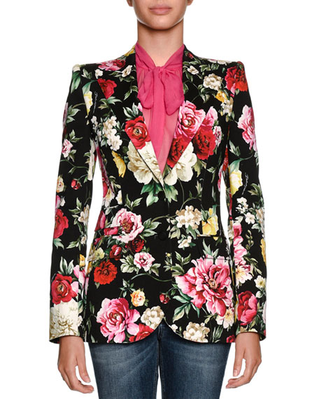 Dolce & Gabbana Single-Breasted Floral-Print Cotton Drill Blazer