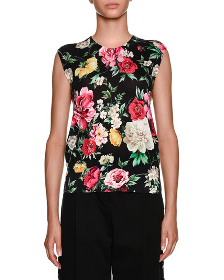 Sleeveless Floral-Print Shell