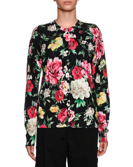Floral-Print Button-Front Cardigan