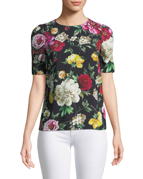 Short-Sleeve Crewneck Floral-Print Cady Top