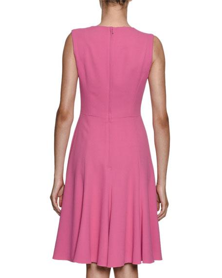 Sleeveless Stretch-Cady Dress w/ Floral Applique