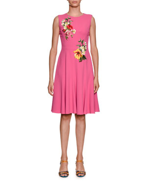 Dolce Gabbana Sleeveless Stretch Cady Dress W Fl Lique