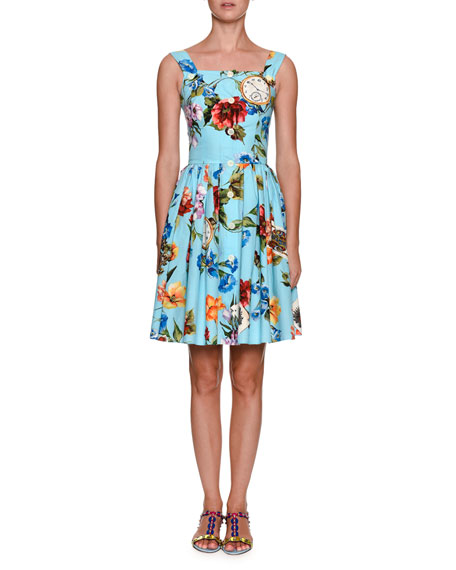 Dolce & Gabbana Floral Telephone-Print Sleeveless Button-Front
