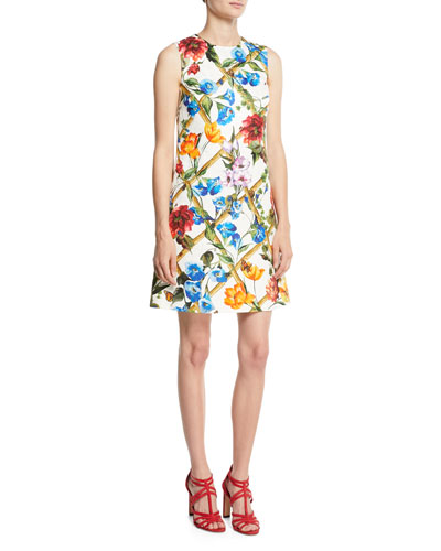 Sleeveless Floral-Bamboo A-Line Brocade Dress