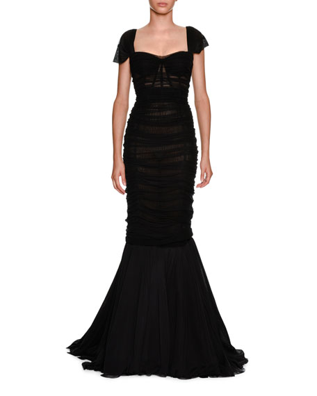 Dolce & Gabbana Sweetheart-Neck Ruched Tulle Trumpet Evening